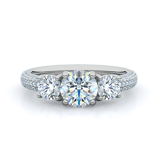 Rounds with Micro-Pavé Three Stone Diamond Engagement Ring (18K White Gold)