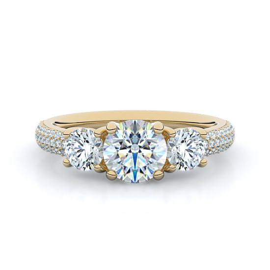 Rounds with Micro-Pavé Three Stone Diamond Engagement Ring (14K Yellow Gold)