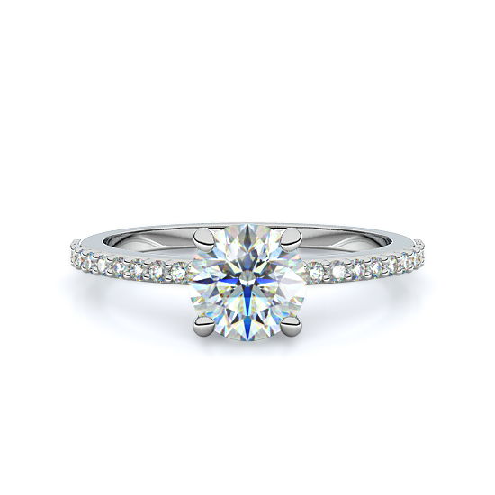 Petite Pavé Diamond Engagement Ring (18K White Gold)