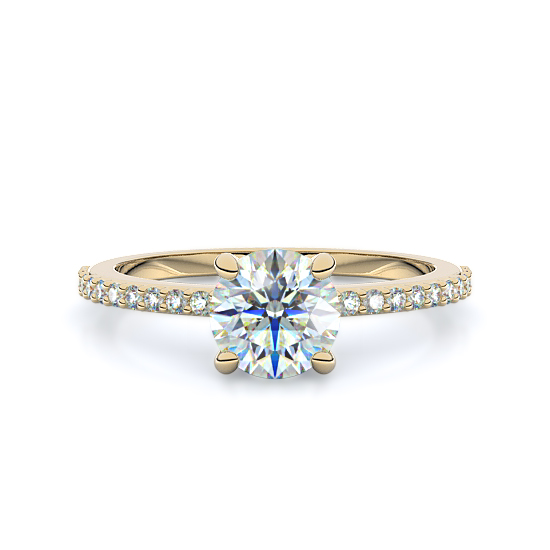 Petite Pavé Diamond Engagement Ring (18K Yellow Gold)