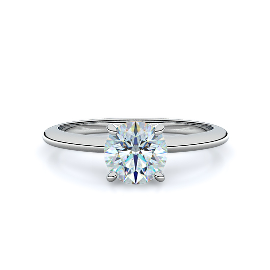 Four Prong Classic Solitaire Engagement Ring (18K White Gold)