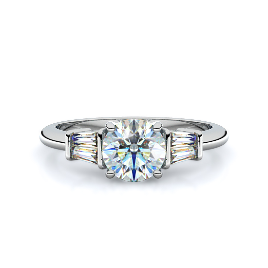 Baguettes Sidestone Engagement Ring (14K White Gold)